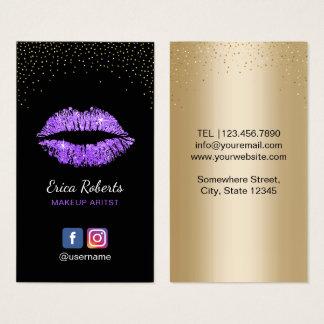 Makeup Artist Modern Purple Glitter Lips Salon Business Card