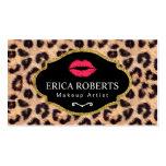 Makeup Artist Modern Red Lips Leopard Print Salon Business Card