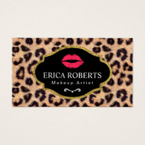 Makeup Artist Modern Red Lips Leopard Print Salon Business Card