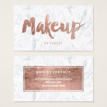 "Makeup artist modern rose gold typography marble business card<br><div class=""desc"">A modern,  stylish makeup artist business card with modern hand lettering style brush typography in faux rose gold foil on a trendy and elegant white marble background. If you need any customization,  don&#39;t hesitate in contacting me</div>"