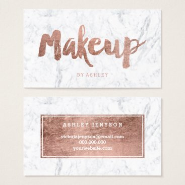 girly_trend Makeup artist modern rose gold typography marble business card