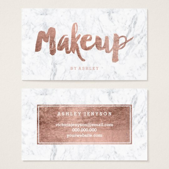 Makeup artist modern rose gold typography marble business card makeup artist modern rose gold typography marble business card reheart Gallery