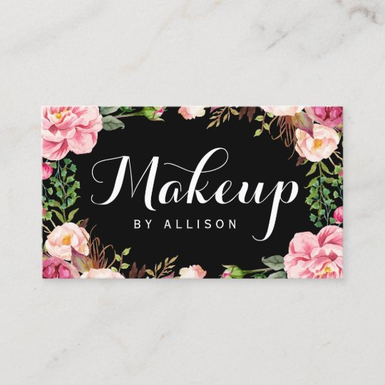Makeup Artist Modern Script Girly Floral Wrapping Business Card