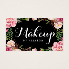 Makeup Artist Modern Script Girly Floral Wrapping Business Card at Zazzle