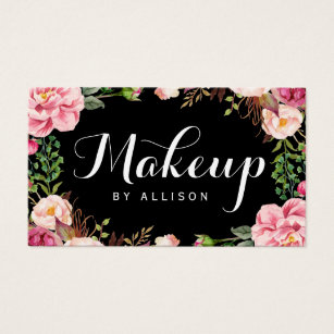 Calligraphy business cards templates zazzle makeup artist modern script girly floral wrapping business card colourmoves Gallery