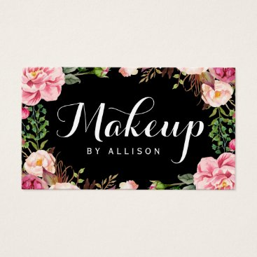 CardHunter Makeup Artist Modern Script Girly Floral Wrapping Business Card