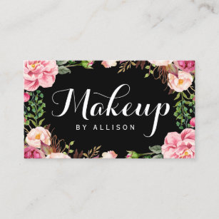 Makeup artist business cards zazzle makeup artist modern script girly floral wrapping business card colourmoves