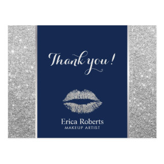 Makeup Artist Modern Silver Glitter Lips Thank You Postcard