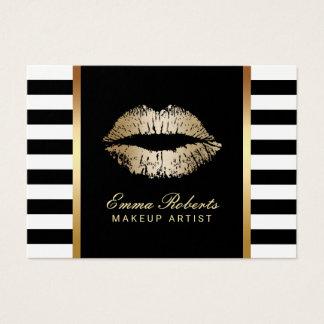 Makeup Artist Modern Stripes Gold Lips Chubby Business Card