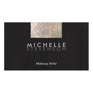Makeup Artist Modern Stylish FAUX Sequin Black Double-Sided Standard Business Cards (Pack Of 100)
