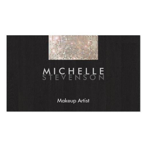 Makeup Artist Modern Stylish FAUX Sequin Black Business Card Template