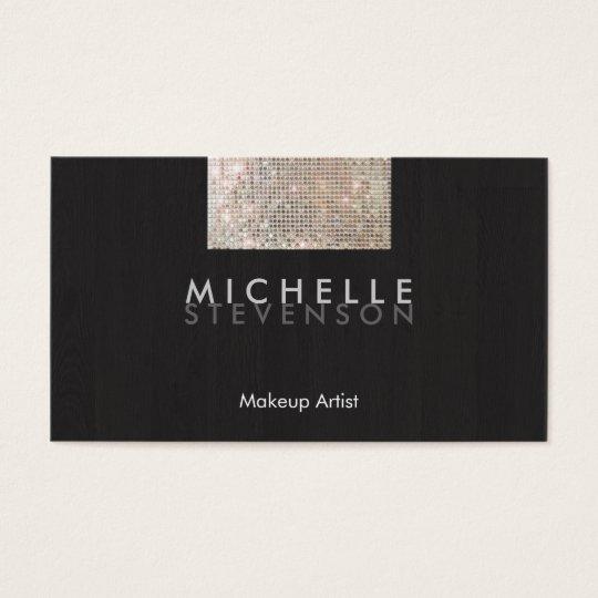 Makeup Artist Modern Stylish FAUX Sequin Black Business Card