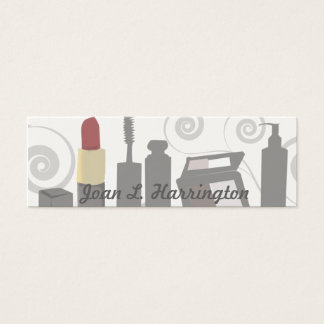 Makeup Artist Modern Swirl Feminine Cosmetologist Mini Business Card