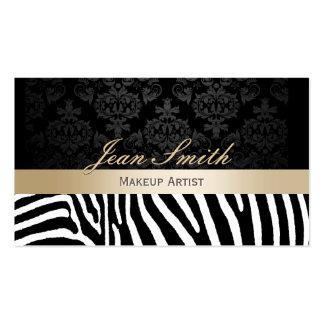 Makeup Artist Modern Zebra Pattern Gold Stripe Business Card