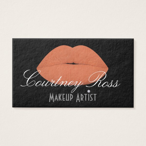 Makeup Artist/Peach Lips - Thick Business Cards