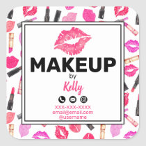 Makeup Artist Personalized Contact Info Square Sticker