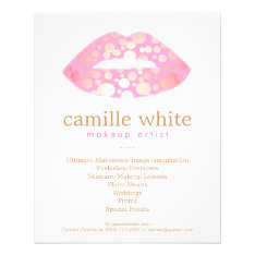 Makeup Artist Pink And Gold Lips Beauty Salon Flyer at Zazzle