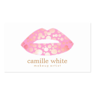Makeup Artist Pink and Gold Lips Logo Double-Sided Standard Business Cards (Pack Of 100)