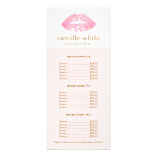 Makeup Artist Pink and Gold Lips Pink Price List Personalized Rack Card