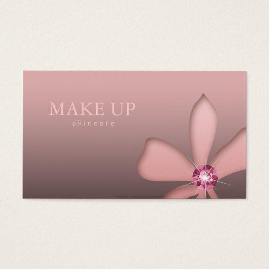 Makeup Artist Pink Flower Diamond Business Card