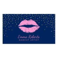 Makeup Artist Pink Lips Gold Confetti Navy Blue Business Card