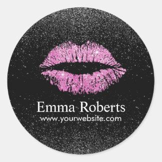Makeup Artist Pink Lips Modern Black Glitter Salon Classic Round Sticker