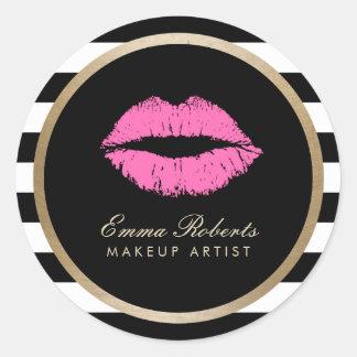 Makeup Artist Pink Lips Modern Black White Stripes Classic Round Sticker