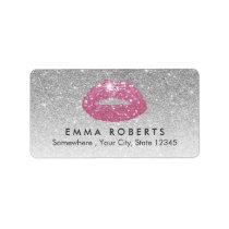 Makeup Artist Pink Lips Modern Silver Glitter Label