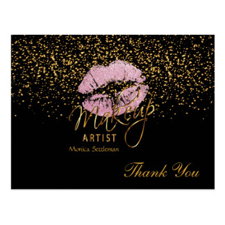 Makeup Artist  Pink Lips on Black Postcard