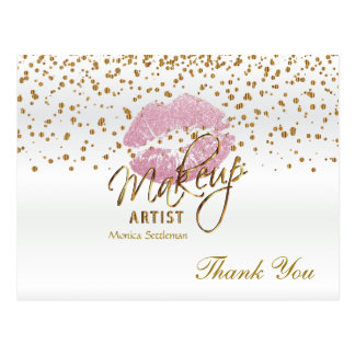 Makeup Artist  Pink Lips on White Postcard