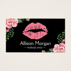 Makeup Artist Pink Lips Vintage Floral Decor Business Card at Zazzle