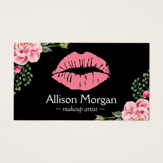 Makeup Artist Pink Lips Vintage Floral Decor Business