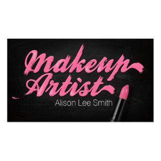 Makeup Artist/Pink Lipstick Business Card Templates
