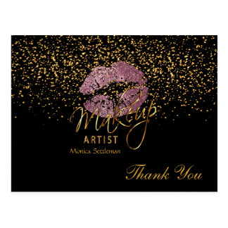 Makeup Artist  Pink Rose Lips on Black Postcard