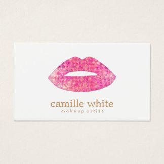 Makeup Artist Pink Sequin Lips Business Card