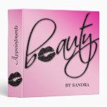 Makeup Artist Portfolio Binder Pink Lips Sparkle 3