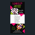 """Makeup Artist Portfolio Rack Card<br><div class=""""desc"""">&#169; 2016 Socialite Designs. A vibrant color makeup and body artist rack card with modern,  geometric photo areas and design elements. Easily change the color and font style of the text. Replace our template photos with your own makeup artistry photos to showcase your work.</div>"""
