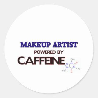 Makeup Artist Powered by caffeine Classic Round Sticker