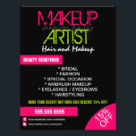 """Makeup Artist Promotional Flyer<br><div class=""""desc"""">&#169; 2015 Socialite Designs. Promote your business with this minimal and colorful hot pink and green design elements flyer. All design elements can be moved,  resized,  rotated or deleted individually.  Please contact Socialite Designs to HELP you customize this flyer.</div>"""
