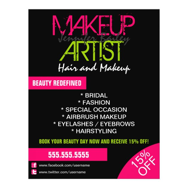 Makeup Artist Promotional Flyer | Zazzle