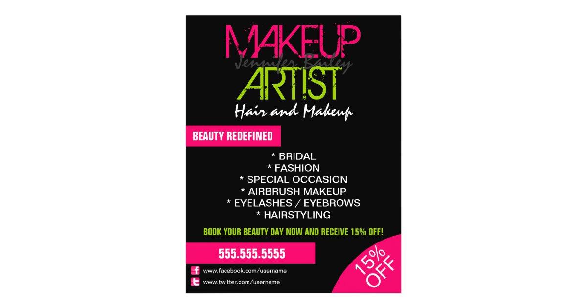 Makeup Artist Promotional Flyer Zazzle Com