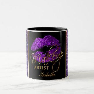 Makeup Artist Purple Glitter Lips Two-Tone Coffee Mug