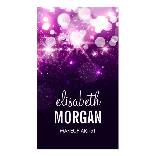 Makeup Artist - Purple Glitter Sparkles Business Card Template