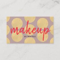 Makeup Artist Purple Gold Polka Dot Business Card
