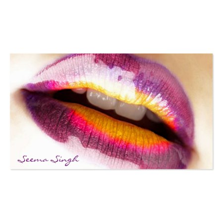 Purple Lipgloss Cosmetology Business Cards