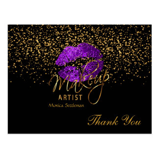 Makeup Artist  Purple Lips on Black Postcard