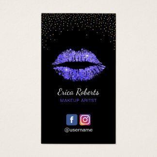 Makeup Artist Purple Lips Salon Social Media Business Card