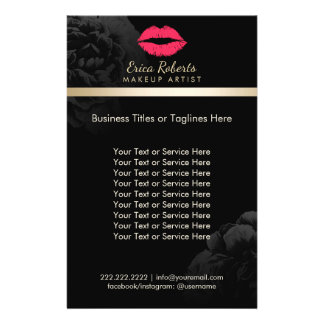 Makeup Artist Red Lips Black Floral Beauty Salon Flyer