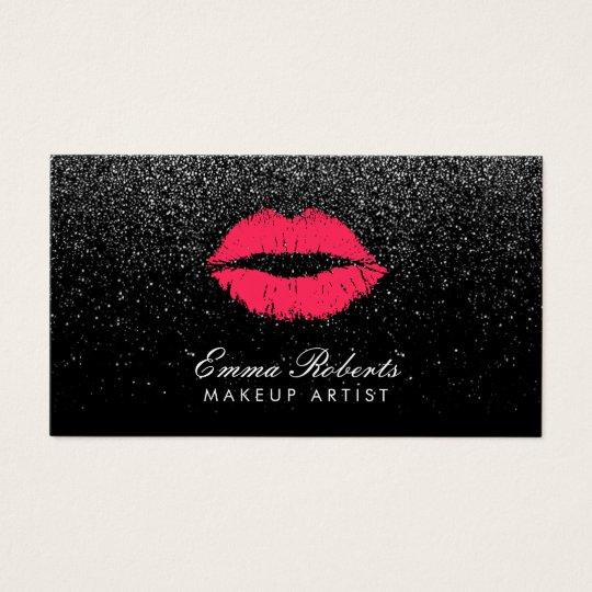 Makeup artist red lips black glitter modern business card zazzle makeup artist red lips black glitter modern business card reheart Image collections