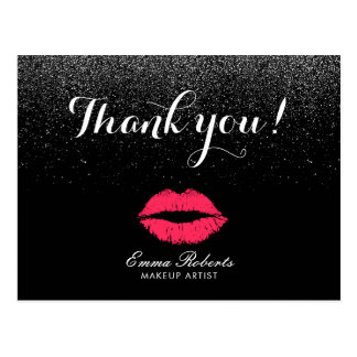 Makeup Artist Red Lips Black Glitter Thank You Postcard